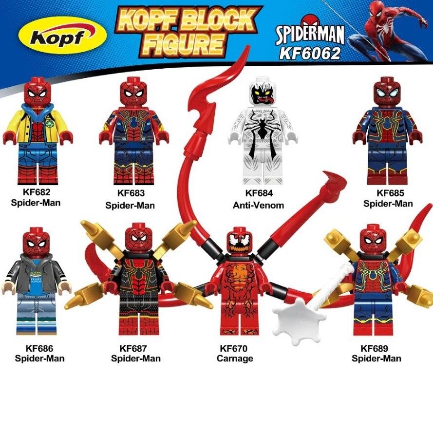 Building Blocks Single Sale Model  Spider Man Anti Venom Spider-man Spiderman Plastic Collection Toys For Children KF6062