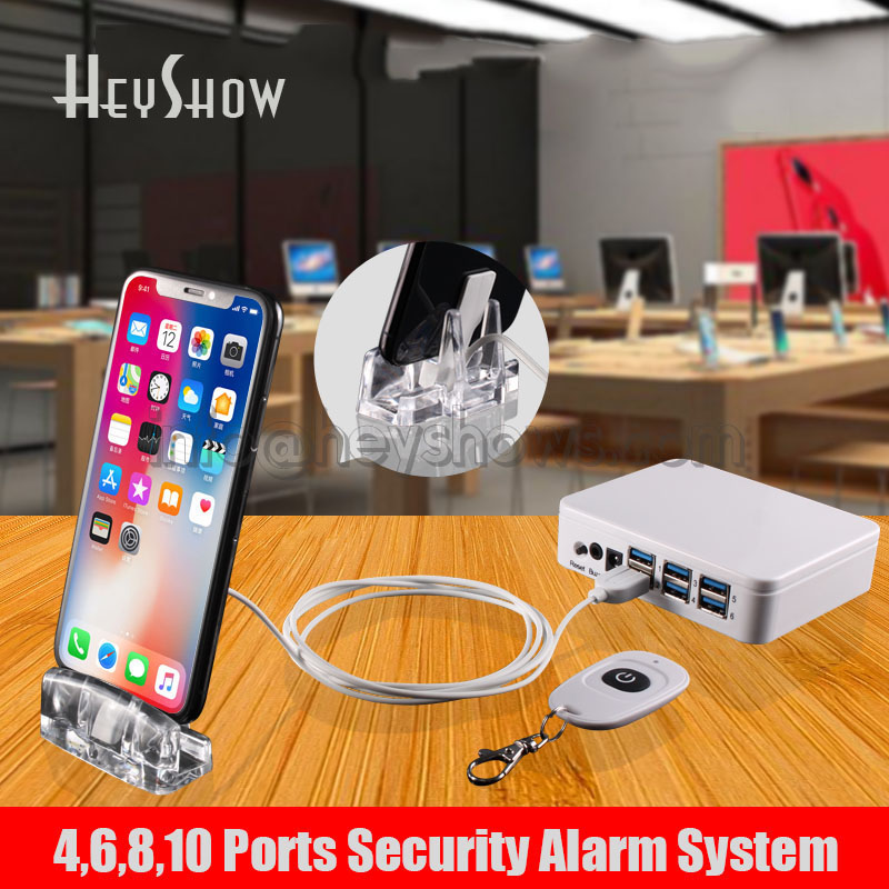 Mobile Phone Security Display Acylic Stand Tablet Burglar Alarm System Cellphone Anti Theft Alarm Box For Retail 4 6 8 10 Ports remote control pure color acrylic security display stand for cellphone retail anti theft