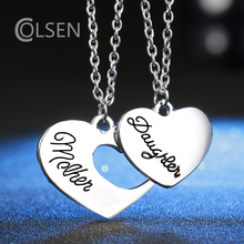 COLSEN 2017 high-quality alloy alphabet necklace female fashion heart-shaped family pendant to give Mother's Day gift jewelry
