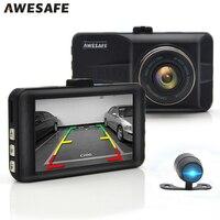AWESAFE 3 Car DVR Dash Cam Camera Digital Video Recorder Parking Monitor Cycle Record Dual Lens