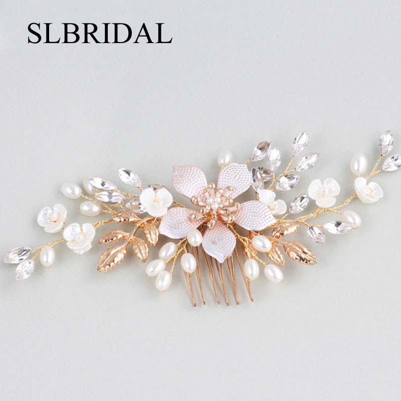 Gorgeous Handmade Crystals Rhinestones Pearls Flower Wedding Jewelry Hair Comb Bridal Headpieces Hair Accessories Bridesmaids