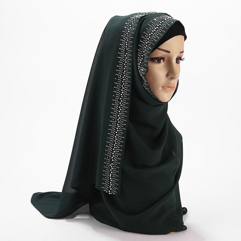 Hot diamond porcelain headband hijab scarf pearl chiffon material high-grade hooded Muslim headscarf