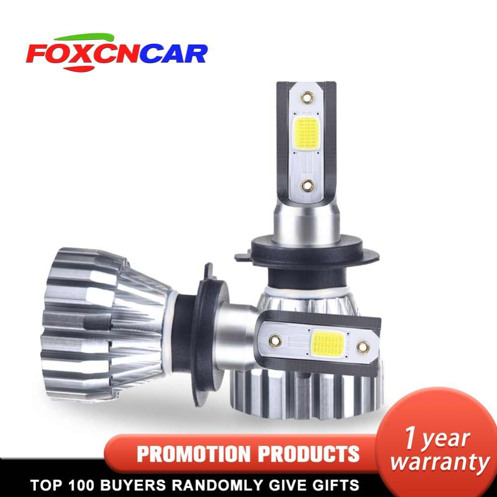 Foxcncar Car Headlight 50W/Pair 5000Lumens H1 H4 H7 LED H11 H8 HB3 9005 HB4 9006 9012 6500K Light 6063 Heatsink IP67 DC 12V 24V