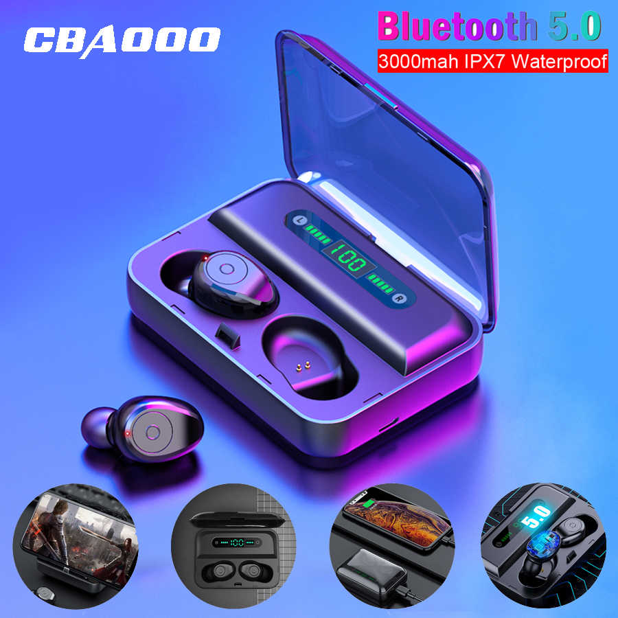 CBAOOO F9-3 Bluetooth Earphones TWS 5.0V Waterproof HD Stereo Wireless earbuds Noise Cancelling Gaming Headset LED Power display