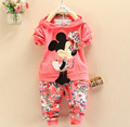 BibiCola Spring baby Girls Clothing set Minnie mouse suit 2pcs children casual Sport suit clothes set kid fashion outfits