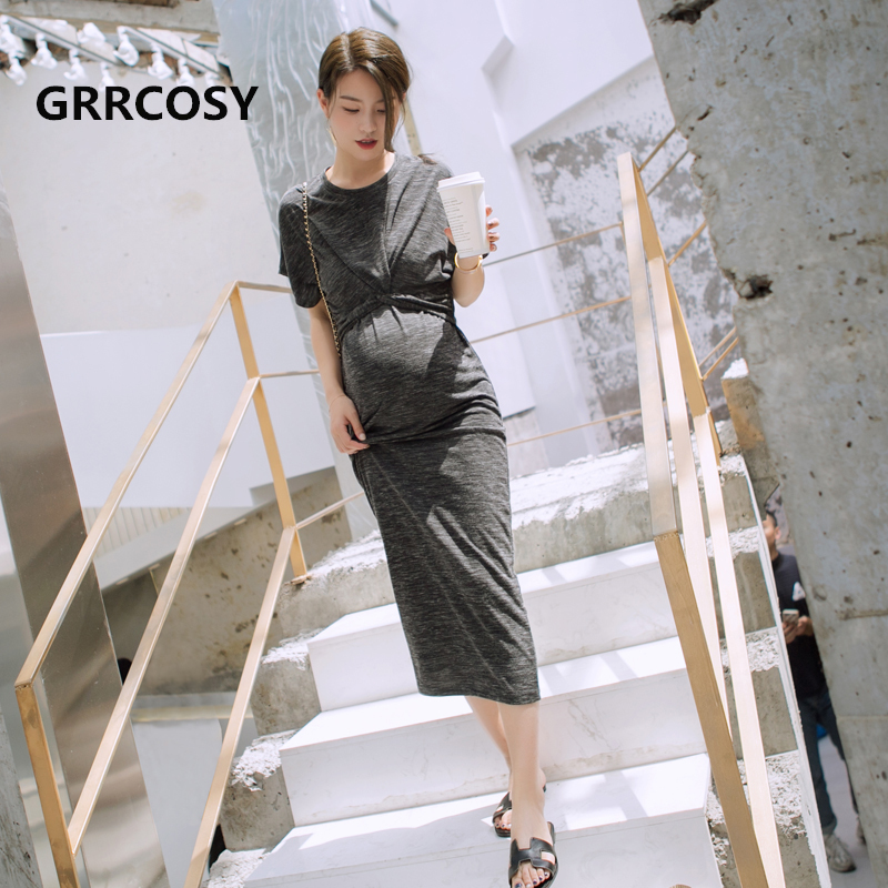GRRCOSY Pregnancy Long Dresses Maternity Clothes Maternity Fashion Party Evening Dress Womens Dress Clothing