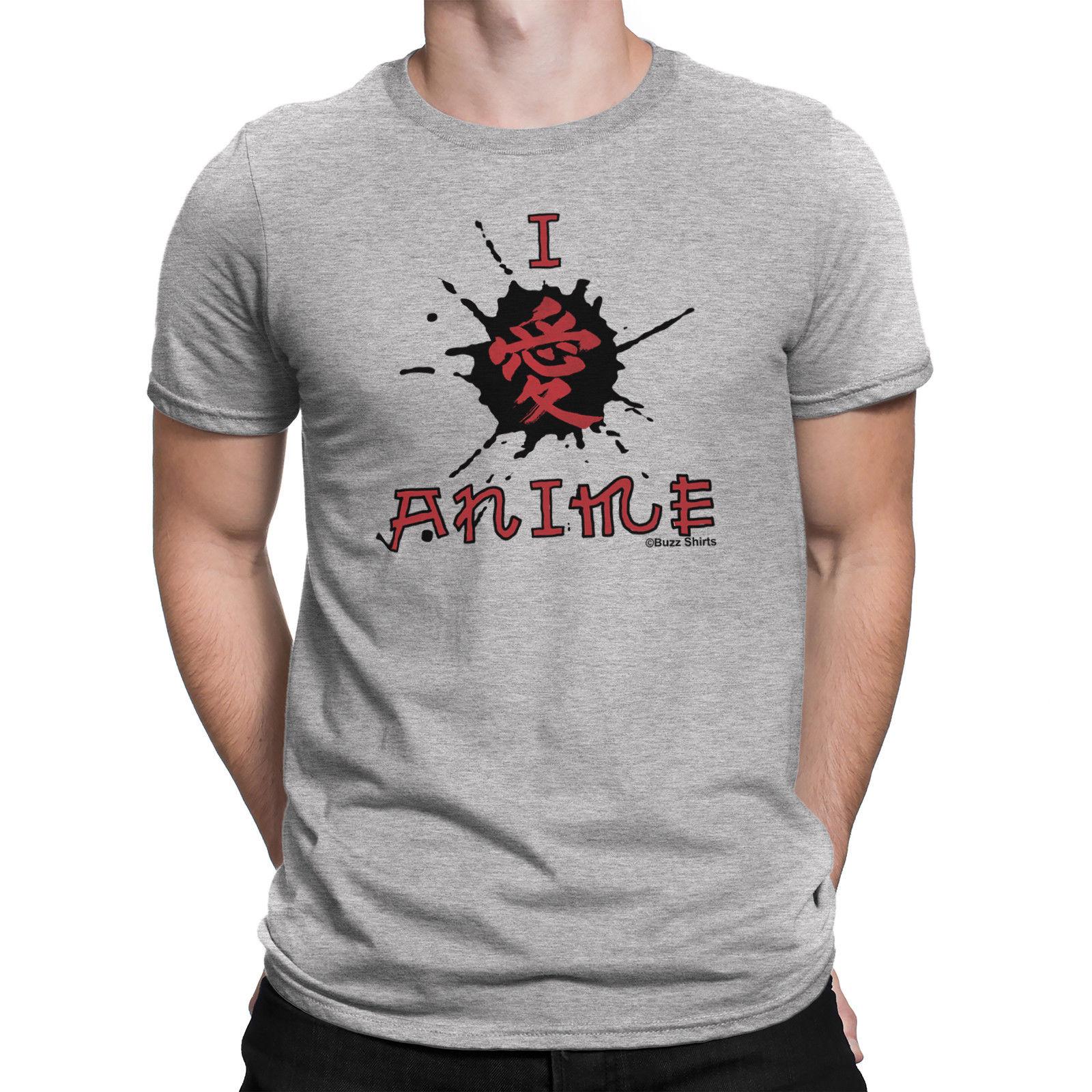Mens I LOVE ANIME Fun Novelty Manga Gift T-Shirt Top Christmas Birthday Gift Men T Shirt Great Quality Funny Man Cotton