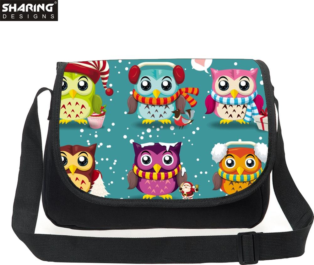 Multicolor Large Capacity Travel Bags Cute owl Children Canvas Messenger Bag Women Crossbody Bags Teenager Girls Casual Bags