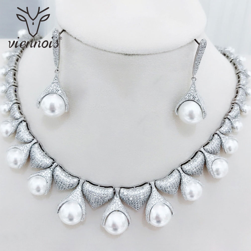 Viennois Silver Copper Zircon Crystal Faux Pearl Crystal Big Earrings Jewelry Set for Women Jewelry Sets faux gem coin leaf jewelry set