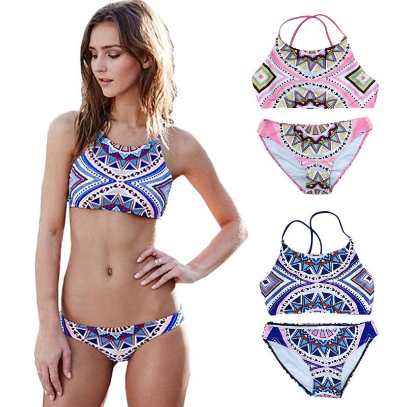 LNGRY Women Plus Size 3pcs Bikini Set Swimsuit Push-Up Padded Print Bra Swimwear