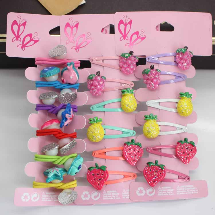 6pcs/lot girls resin Fruits hair Barrettes children's snap hair clips Elastic rubber band kids ponytail holders hair accessories 24pc hair styling braid hair snap clips for girls headwear hair ornaments black snap hairgrips hairclip barrettes hairpins clips
