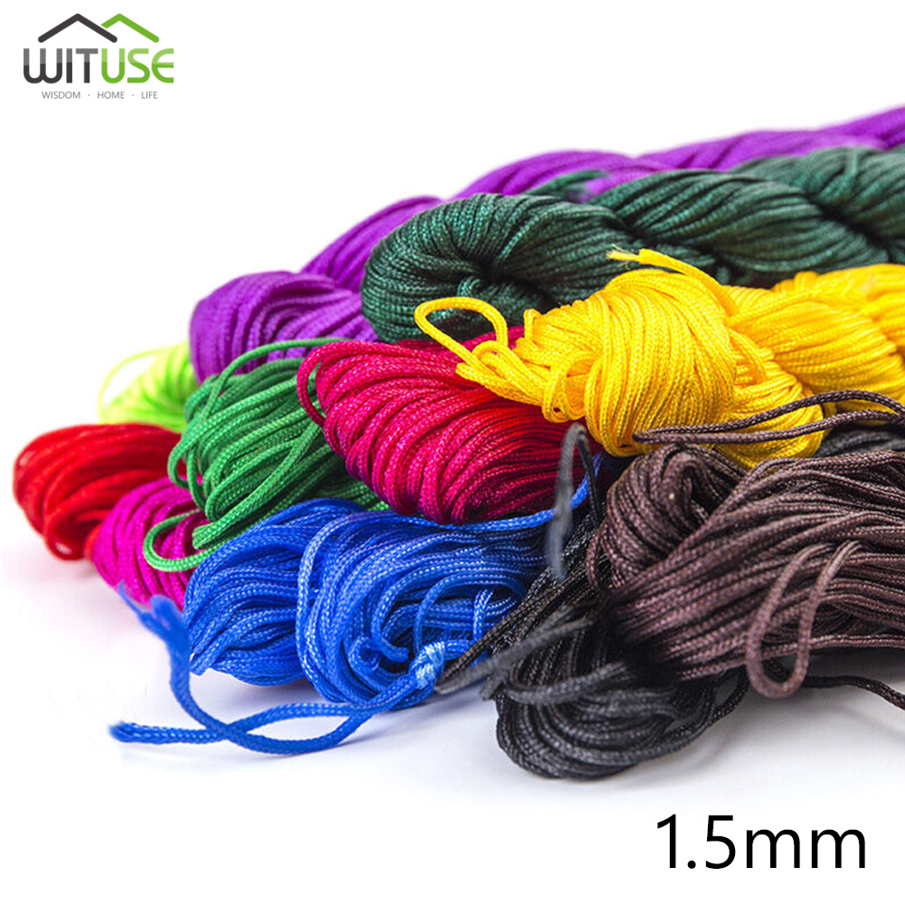 Colored 1.5mm 10meters Chinese Knot Cord Nylon Macrame Beading Thread Wire String For DIY Chinese Knot Bracelet Necklace Jewelry