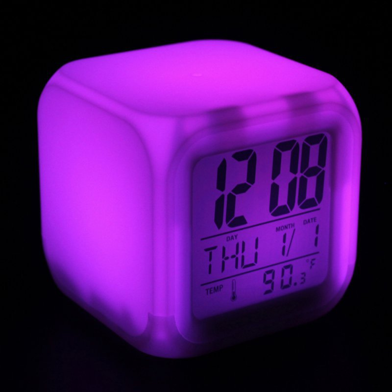 digital lcd changing alarm clock thermometer date time night light 7 colour in alarm clocks from. Black Bedroom Furniture Sets. Home Design Ideas