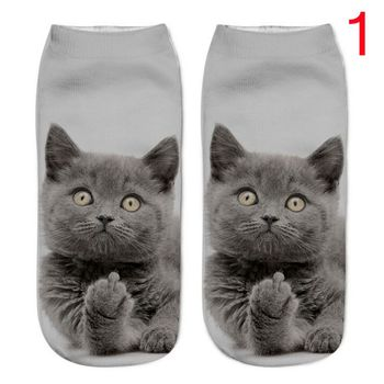 1Pair 3D Harajuku Style Print Cat Women Casual Unisex Low Cut Ankle Socks