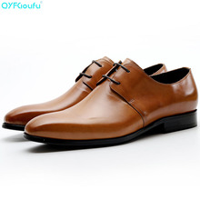 New Genuine Cow Leather Men Wedding Shoes High Quality Oxfords Dress Shoes Black Brown Lace-up Office Shoes недорого
