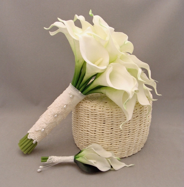 2019 New Wedding Bouquet Calla Lily Ivory Flowers Artificial Handmade Custom Made Beach Wedding Flowers for Bridesmaid hochzeit