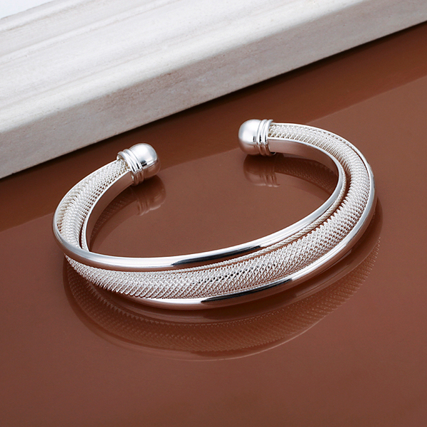 925 Sterling Silver Jewelry Bracelets Bangles Sets Fashion Wedding Wide Bangle For