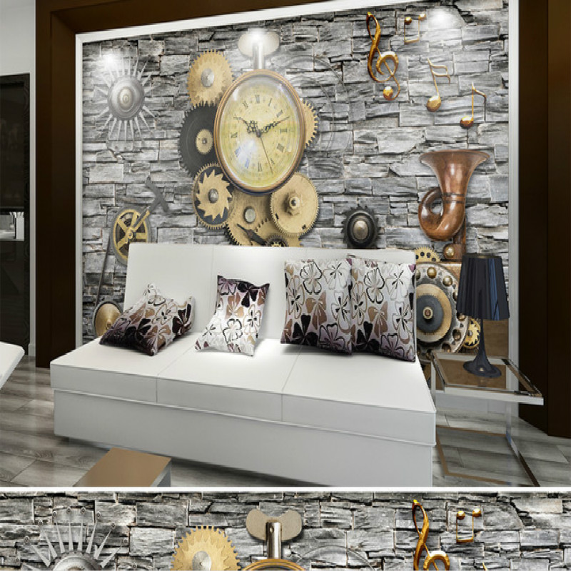 Brick wall clocks mechanical gear tooling large mural wallpaper mural painting living bedroom backdrop stereoscopic wallpaper large yellow marble texture design wallpaper mural painting living room bedroom wallpaper tv backdrop stereoscopic wallpaper