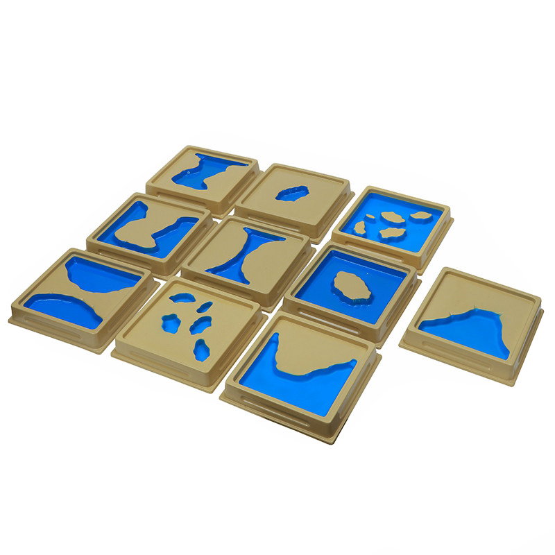 10Pcs Baby Toy Montessori Materials Geography Mould Land And Water Plastic Form Trays Set 1 Set 2 Early Childhood Education Kids