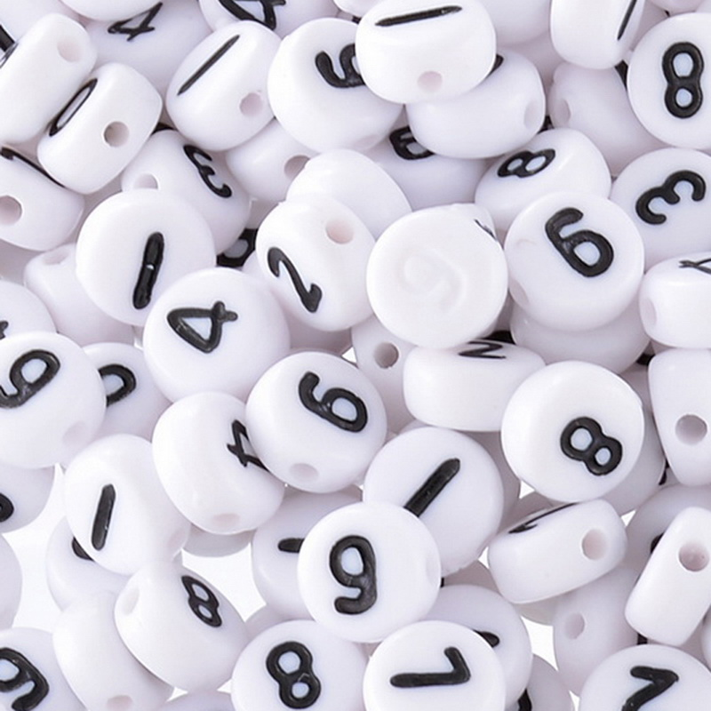 500 Mixed White Acrylic Numbers Spacer Beads 7mm  Пирсинг ушей