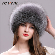 ddb0df4f ICYMI Natural Fox Fur Hat for Women with Leather Top Mongolian Princess Hat  with Pompom Winter
