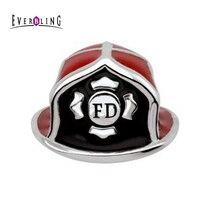 Czerwony Emalia Ogień Dział Strażak Hat 100% 925 Sterling Silver Charm Pandora Koraliki Fit Europejskiej Charms Bransoletka Naszyjnik M