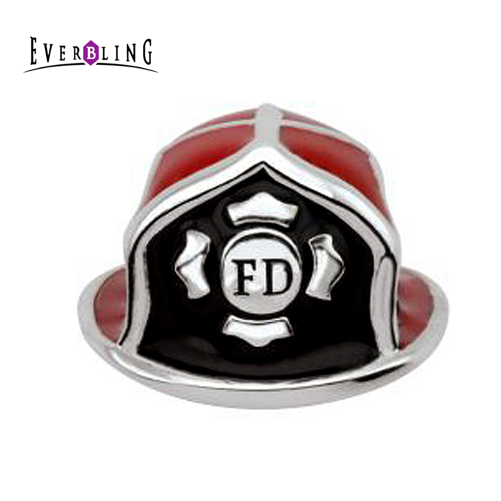 925 Sterling Silver Antiqued Firemans Helmet Charm and Pendant