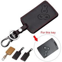 Stylish Genuine Leather 4 Buttons Car Remote Key Cover Case for Renault  Koleos