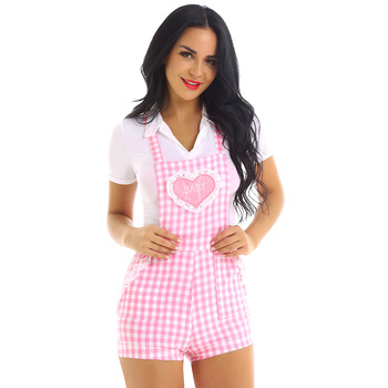 iiniim Adult Womens Cute ABDL Clothing Baby Patch Criss-cross Back Gingham Print Babydoll Short Overalls Shortalls Jumpsuits 2