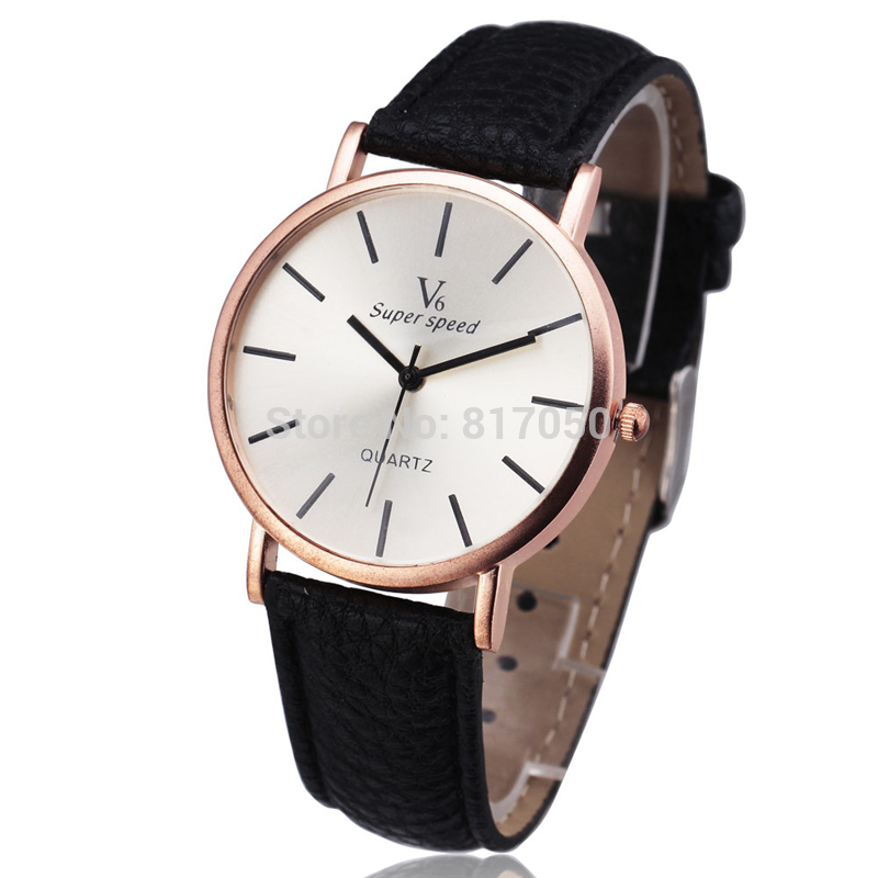 2016 Top Brand V6 Fashion Design Ultra Thin Gold Case White Dial Men Women Leather Strap Classic Dress Quartz Wrist Watch