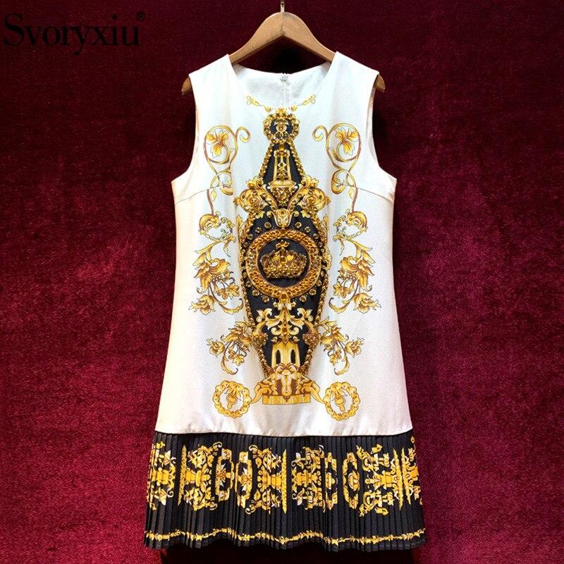 Svoryxiu diseñador de verano Vintage para fiesta Vestido corto de lujo para mujer con cuentas de cristal barroco estampado plisado Mini vestido-in Vestidos from Ropa de mujer    1