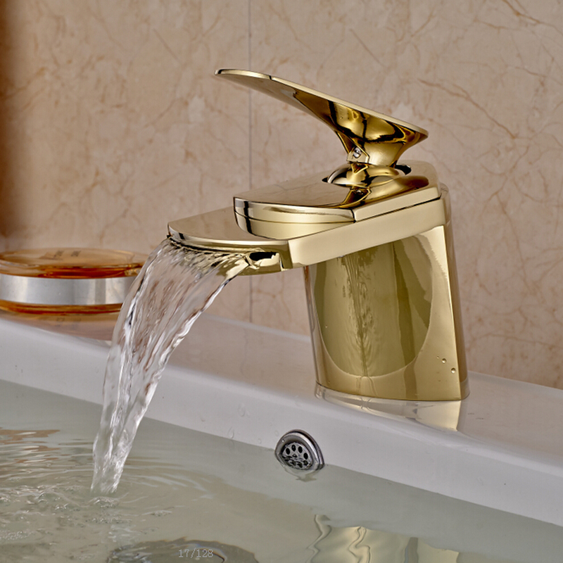 Free Freight Brass Golden Basin Faucet Single Handle Waterfall Vanity Sink Mixer Taps Deck Mounted deck mounted golden brass swan basin faucet single handle countertop sink mixer