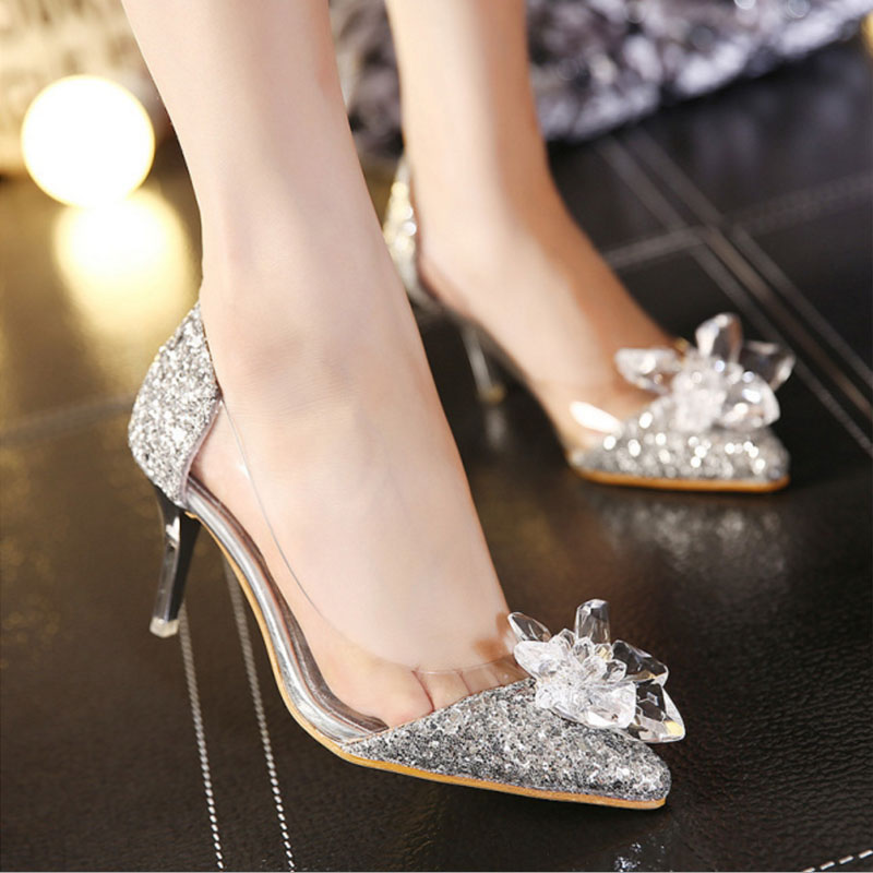2016 New Spring Sexy Women Pumps Cinderella Shoes Pointed High Heels Female Silver Singles High-heeled Wedding Bridal Shoes choudory cinderella shoes 2017 women pumps sexy prom rhinestone wedding shoes bridal high heels pointed toe silver bling bling