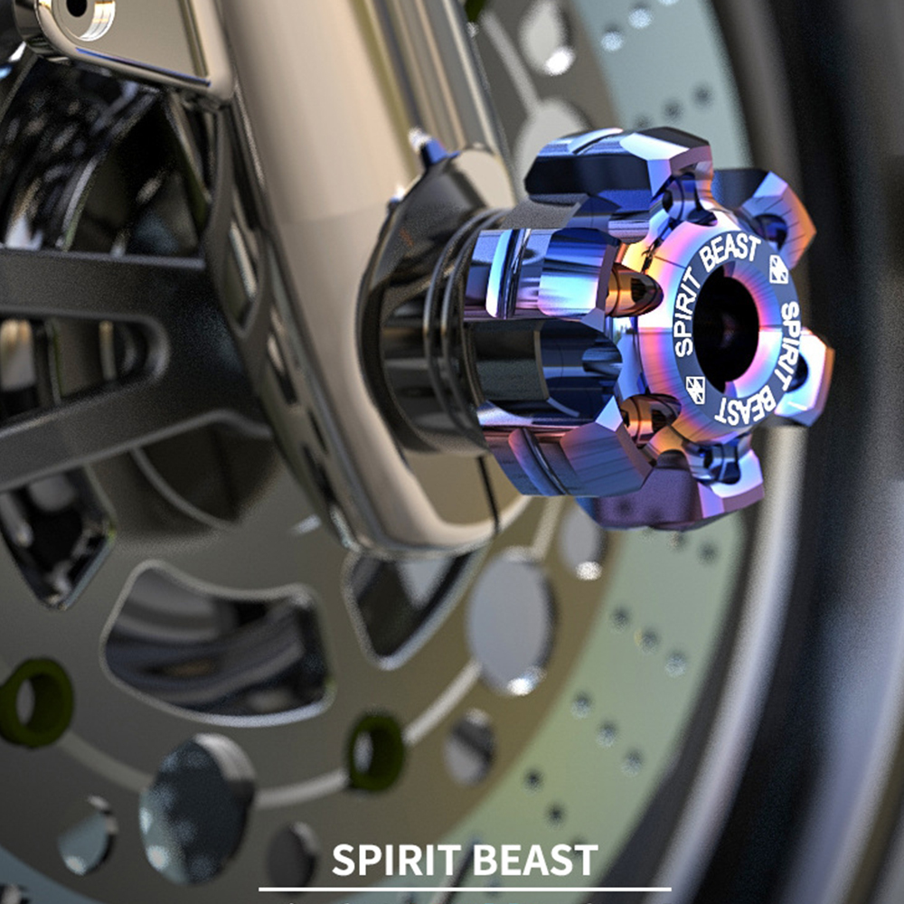 SPIRIT BEAST Scooter Motorcycle Burn Titanium Front Axle Front Wheel Sliders For Yamaha Xmax Honda Forza CBR300 CBR1000