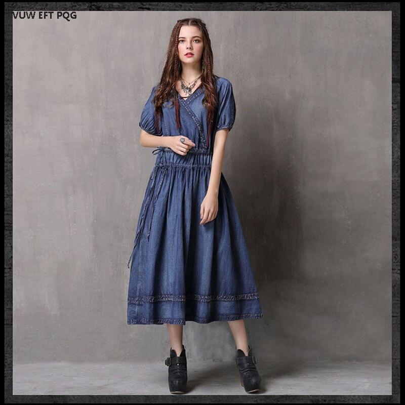 Été femme Denim robe Vintage broderie courte denim a-ligne empire bleu irrégulière robe Jean robes avec ceinture Vestidos