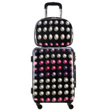 DAVIDJONES 2 PCS/SET carry-on valise 20″ & 13 cosmetic case Spinner Vintage Print trolley Universal Spinner Wheels for holidays