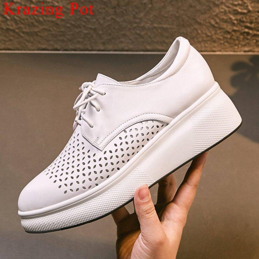 Ayakk.'ten Vulkanize Kadın Ayakkabıları'de Krazing Pot tam tahıl deri lace up sneakers iyi havalandırılmış kalın alt sivri burun oyma günlük giyim vulkanize ayakkabı L21'da  Grup 1