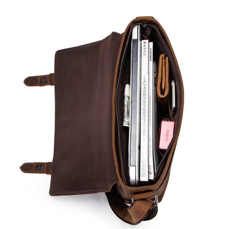 100% мужской портфель из натуральной кожи, Ретро стиль, настоящая сумасшедшая лошадь, кожаная сумка через плечо, деловая сумка для ноутбука, чехол, Офисная сумка - 3