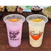 1000pcs disposable thicken plastic cup,95cm diameter bubble tea plastic cup, smile face milk tea cup free shipping