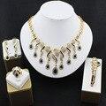 Conjunto De Jóias de Casamento do vintage banhado a Ouro-banhado colar brincos pulseira anel tribunal vestido acessórios belas mulheres Africanas