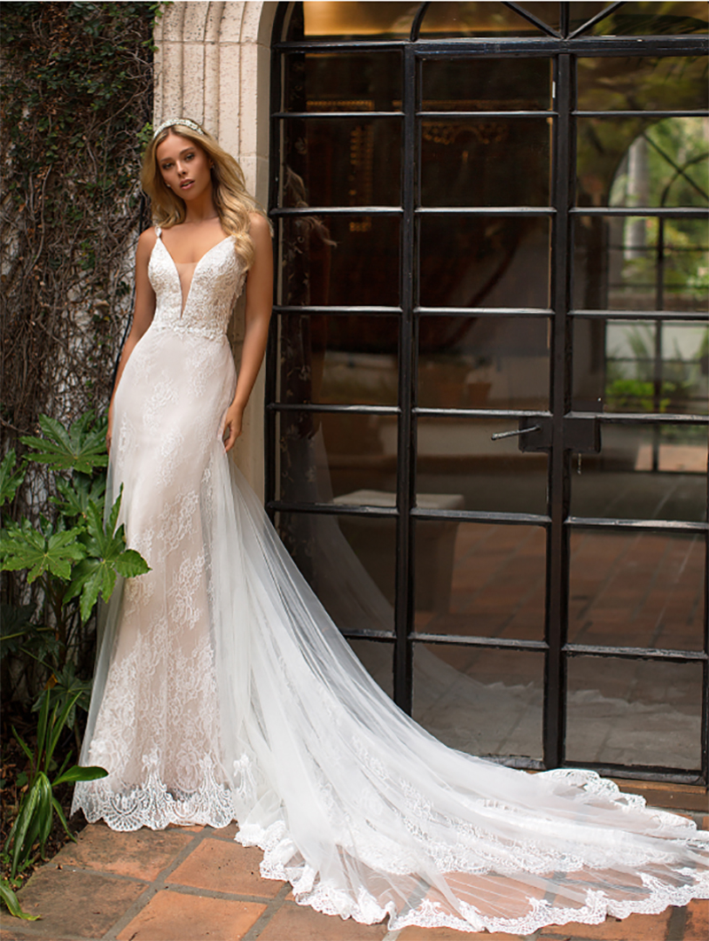 Champagne Mermaid Wedding Dress V Neck Boho Bride Dress 2019 3D Flowers Backless Wedding Gowns Vestido De Novia Floor Length