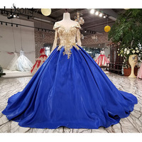 Royal Blue Puffy Evening Gowns 2018 Full Sleeves Vintage Gold Appliques 3D Flower Long Prom Gowns Bow Plus Size Evening Gown