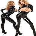 Hot Sale Latex Dew Chest catsuit spandex Black patent PVC Teddies women Sexy lingerie erotic lingerie Open Crotch