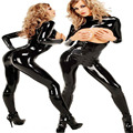 Venta caliente de Látex Pecho Rocío catsuit spandex Negro patente PVC Peluches mujeres Sexy lencería erótica lencería Abertura entre las piernas