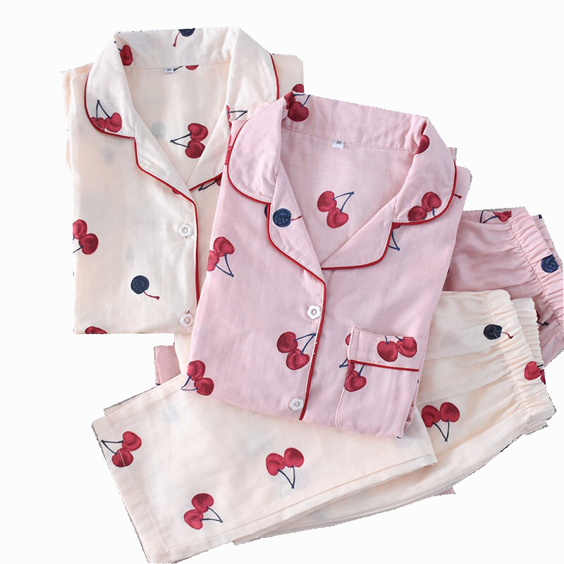 Spring And Autumn New Lady's Pajamas Set Cherry Printed 100% Gauze Cotton Turn-down Collar Long Sleeve Trousers Household Wear