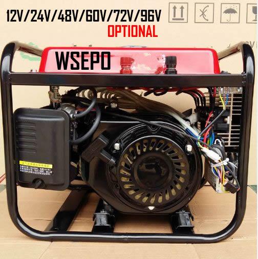 Versión inteligente WSE-3KW (Inicio automático) sistema generador de carga de batería de CC de gasolina (12 V/24 V/36 V/48 V personalizado) para vehículos electrónicos