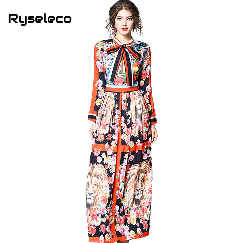 Ryseleco High Fashion Vintage Print Hit Color Lace Up Women Dresses 2018 Spring Pleated Full Sleeve Big Swing Long Party Dresses