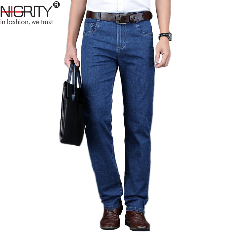NIGRITY 2019 Spring and Summer Hot Sale Men's Business Classic Leisure   Jeans   Basic styles Straight pant Quality Plus Size 28-42