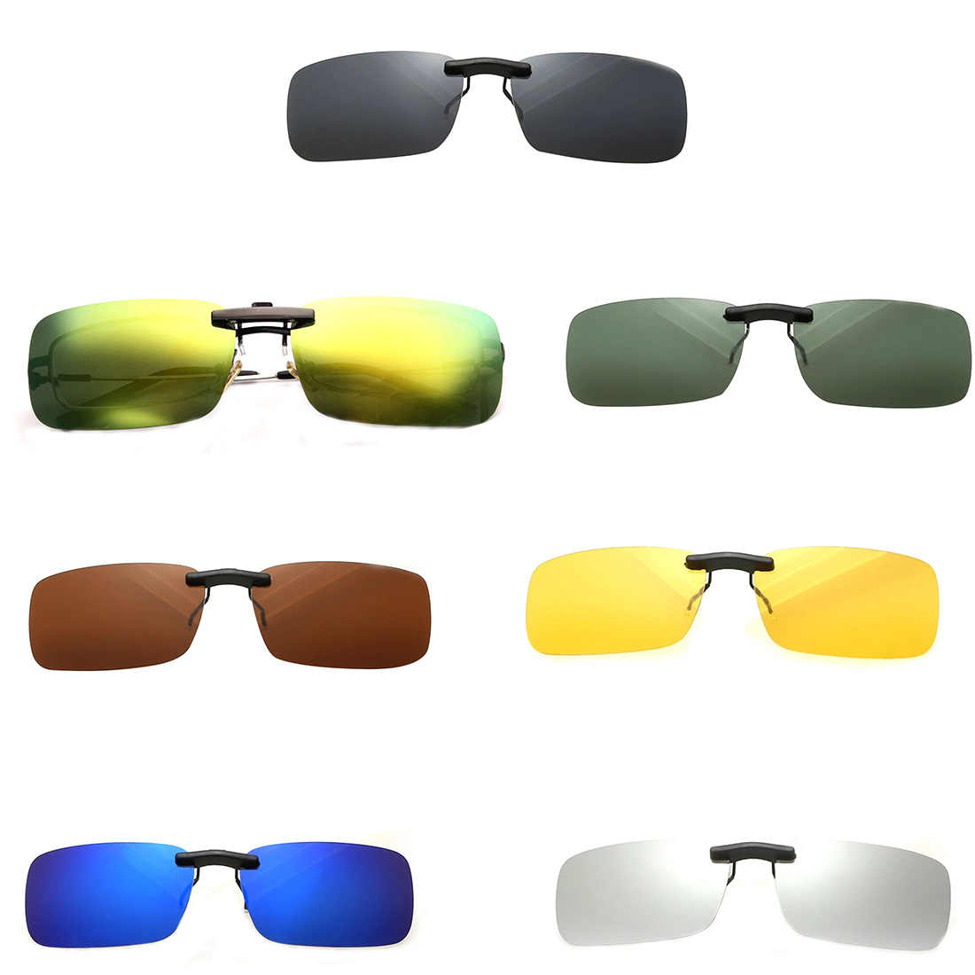 bad18cc0bb9 Unisex Polarized Clip On Sunglasses Near-Sighted Driving Night Vision Lens  Anti-UVA Anti