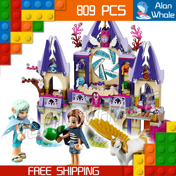 809pcs New Bela 10415 Skyra's Mysterious Sky Castle Model Building Blocks Naida Fairy pegasi Pegasus Compatible With Lego Elves 809pcs new 10415 elves azari aira naida emily jones sky castle fortress building block toys
